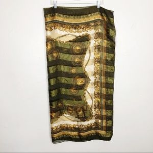 Rodeo Green and Gold Polyester Scarf